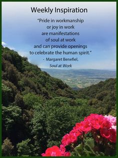 """""""Pride in workmanship or joy in work are manifestations of soul at work and can provide openings to celebrate the human spirit."""" - Margaret Benefiel"""