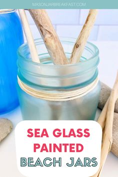 Do you like beach house décor? These Sea Glass Painted Beach Jars are a simple, inexpensive way to add beach inspired decoration into your home. This Mason jar craft requires only a handful of materials, most of which you likely have at home right now. Have fun accessorizing these beach Mason jars with driftwood, stones, shells, sea glass, sand dollars, coral, plants, and sand collected from your favorite beach. #beachhousedecor #masonjarcrafts #masonjarcenterpieces #masonjarprojects Beach Jar, Beach Mason Jars, Mason Jar Gifts, Mason Jar Diy, Diy Gifts For Friends, Diy Gifts For Boyfriend, Homemade Christmas Gifts, Homemade Gifts, Mason Jar Breakfast