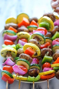 Kabobs - These marinated fresh veggie kabobs are packed with tons of flavor - perfect as a healthy side dish to any meal!Vegetable Kabobs - These marinated fresh veggie kabobs are packed with tons of flavor - perfect as a healthy side dish to any meal! Healthy Side Dishes, Vegetable Side Dishes, Vegetable Recipes, Healthy Snacks, Vegetarian Recipes, Healthy Recipes, Vegetarian Kabobs, Snacks Recipes, Grilled Side Dishes