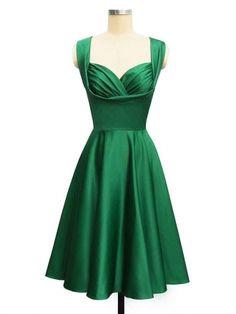 emerald knee length satin dress