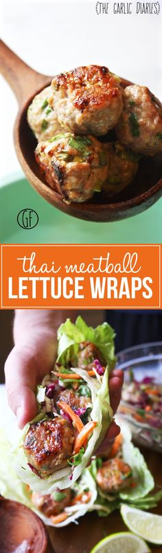 Thai Meatball Lettuce Wraps - TheGarlicDiaries.com - picky eater approved - make the meatballs smaller to cook faster - ingredients not on hand: fish sauce and sweet chili sauce