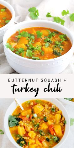 Not your average chili, this butternut squash and turkey chili features red lentils and is simmered in a creamy coconut milk and tomato broth. Make this in your pressure cooker or on the stove top! Slow Cooker Recipes, Soup Recipes, Vegetarian Recipes, Cooking Recipes, Healthy Recipes, Keto Recipes, Best Butternut Squash Soup, Healthy Butternut Squash Recipes, Spinach Soup