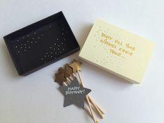 Happy Birthday greeting card / make a wish / miniature wand /