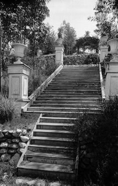 Steps belonging to Adolphus Busch's original Sunken Garden in Pasadena, circa 1895. The location was near the site of the Colorado Street Bridge, which was built much later. (USC Library)