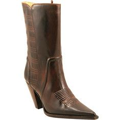 This ladies' pull on 10  tall boot has a high heel, a pointed toe, and an embossed quilted pattern.
