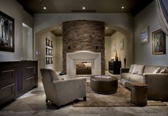 Family Room with two sided fireplace