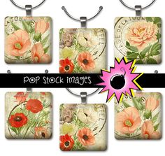 1 Inch Squares Paris Floral Collage Sheet - Printable for Pendants, Magnets & Charms - Flower Inchies INSTANT Download - French Postmark