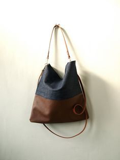 Leather and Dark Denim Tote Bag - HARRIS -  Adjustable Leather Shoulder Bag Leather Shopper Bag by Jeanie Deans on Etsy, $68.00