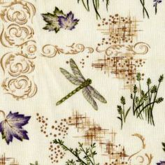 Dragonflies, Flowers, and Leaves on Cream - Dragonfly Summer
