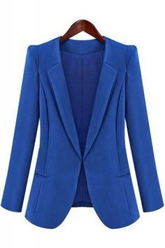 Lapel Long Sleeve Plain Blazer
