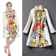 New Autumn Winter Fashion White or Black Desigual Print Floral Trench Coat #Desigual #TrenchCoatsMacs #Casual