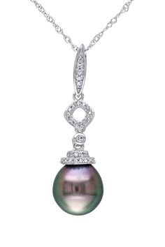 14K White Gold 9-9.5mm Black Tahitian Pearl Diamond Pendant Necklace <3