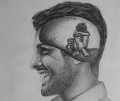 Funny pictures to draw thoughts ideas Sad Drawings, Dark Art Drawings, Pencil Art Drawings, Art Drawings Sketches, Drawing Feelings, Drawing Skills, Drawings About Depression, Drawing Faces