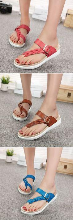 US$19.72 Leather Knitting Weave Buckle Clip Toe Flat_ Open Heel Flip Flops Sandals_Beach Sandals For Summer