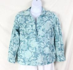 LL Bean M size Tunic Top Womens Light Blue Floral Vacation Cotton Shirt Comfort