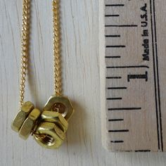 GOLD (OR SILVER) Single Hex Nut Necklace >> by Windsday on #Etsy