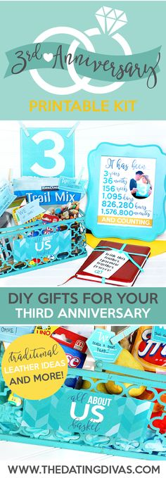 Printable Kit for your 3rd anniversary!! I love that there are different gift ideas, including a traditional leather gift idea! From The Dating Divas