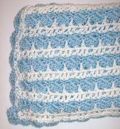 "38""X33"" Blue White Shell Baby Boy Afghan Blanket Throw Handmade Soft NEW #Handmade"
