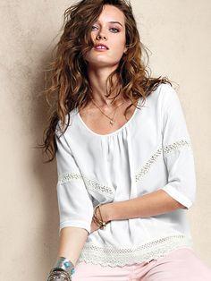 Victoria's Secret Crochet-trim Blouse on shopstyle.com