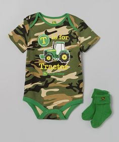 Look what I found on #zulily! Green Camo 'T is for Tractor' Bodysuit & Socks - Infant #zulilyfinds