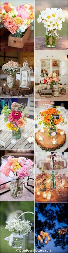 Rustic country mason jar wedding ideas /  http://www.deerpearlflowers.com/cheap-mason-jar-wedding-ideas/
