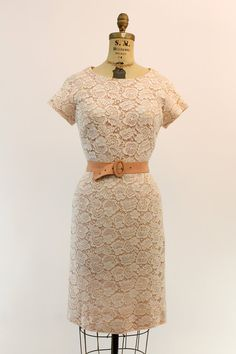 50s Pink Lace Dress Small / 1950s Wiggle Spring by CrushVintage