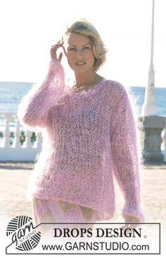 Women - Free knitting patterns and crochet patterns by DROPS Design Sweater Knitting Patterns, Free Knitting, Baby Knitting, Free Sewing, Crochet Patterns, Drops Design, Poncho Pullover, Gros Pull Mohair, Mohair Sweater