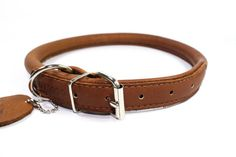 Rolled Soft Leather Dog Collar Soft Padded Sizes by CollarDirect