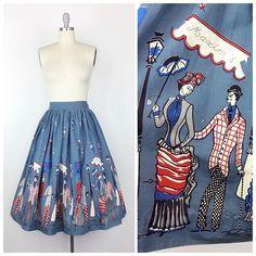Cute Moulin Rouge 50s Border Print Cotton Skirt - 27 inch waist - $185 (SOLD) • cheshirevintageshop.etsy.com • #vintage #vintageshop #vintageskirt #skirt #noveltyprint #50sskirt #1950sskirt #1950 #1950s #50s #fifties #forsale #etsy #etsyshop #etsyseller