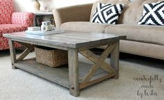 Coffee Table ((Ana-White)) beautiful stain love those pillows modern rustic living room easy plans