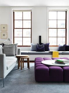 A Tribeca, New York loft by Melbourne-based interior design firm Nexus Designs. The interior was inspired by the owner's favourite picture of the NSW Blue Mountains and incorporated dusky blues and purples, wood and sunny yellow. See more on the Temple & Webster blog as part of the David Clark's Edit series. Image - Jonny Valiant.  http://blog.templeandwebster.com.au/david-clarks-edit-nexus-designs/