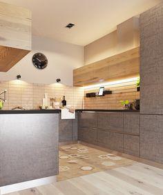 Фасады кухни под бетон и светлое дерево в стиле Лофт Kitchen Interior, Kitchen Decor, Kitchen Design, Interior Architecture, Interior Design, Dining Room Design, Sweet Home, Splashback, House