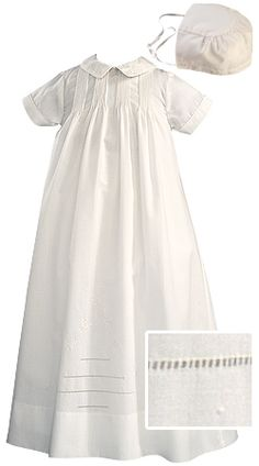 Sarah Louise Infant Boys & Girls White Long or Short Sleeved Heirloom Christening Robe Gown & Bonnet