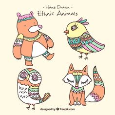 Pack of four lovely hand drawn animals ethnic Free Vector