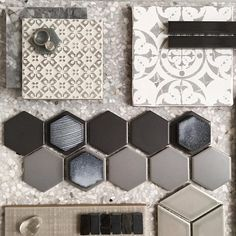 H E X Gorgeous layers of mosaics in the warmest of greys layered up with some porcelain sets and Terrazzo. Gotta say we love watching our designers create magic with our tiles. This one styled by Home Design, Küchen Design, Design Styles, Pink Tiles, Interior Design Boards, Design Palette, Handmade Tiles, Modular Homes, Bath Remodel
