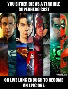 Chris Evans as Human Torch/Captain America, Brandon Routh as Superman/Atom, Ben Affleck as Daredevil/Batman, Ryan Reynolds as Green Lantern/Deadpool