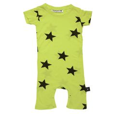 Nununu Neon Yellow Stars Playsuit/Romper: Designer Kids Clothes | Shop our Boutique for Cool Children's Clothing