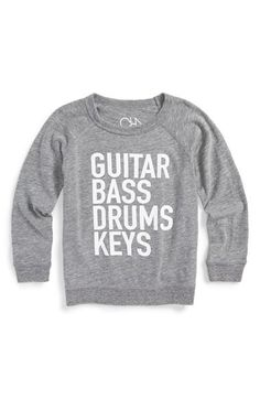 "Chaser is a contemporary clothing line dedicated to the evolution of style and remains the authority on cool. Textured logo letters""Guitar Bass Drums Key"" add graphic style to a cool long-sleeve smoke"