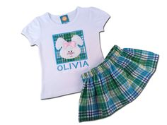 Girl's Easter Outfit with Easter Bunny Box Shirt and Easter Plaid Skirt - P8 by SunbeamRoad on Etsy
