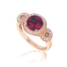 Raspberry Rhodolite® continues to be a delicious option, accompanied by Chocolate Diamonds® and Vanilla Diamonds™ and set in Strawberry Gold®