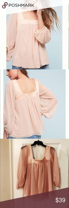 Anthropologie blush top by Meadow Rue, NWT Brand new with tags and never worn. Beautiful top by brand meadow rue from anthropologie. Body of top is lightly lined and not see through. Sleeves are sheer. This top drapes beautifully and has a lower back but will not show bra. First two photos are stock photos. Color of actual shirt is blush color and not quite as light as stock photos, but not dark blush. Runs true to size and is a flowy shirt, not tight. Please let me know if you have any…