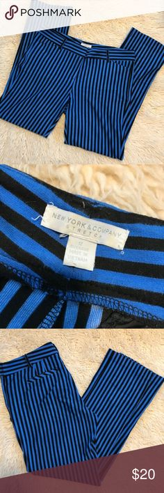 New York & Company Blue and Black Striped Pants In great used condition! No flaws! New York & Company Pants Straight Leg