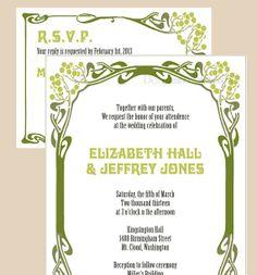 Art Nouveau Vine Tree Frame Wedding Invitations - 1920's, 1930's, Nature Themed Wedding - SAMPLE