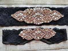 Sale -Wedding Garter and Toss Garter-Crystal Rhinestone with Rose Gold Details - Black Garter Set - Style G20903RGBLK