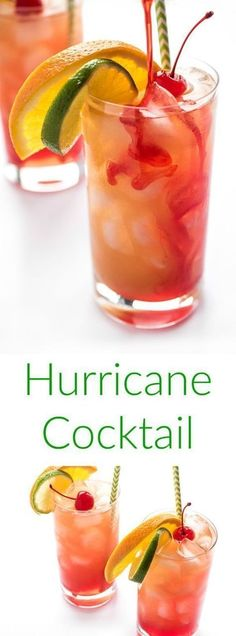 The hurricane cocktail is a fruity #rum punch made famous in New Orleans. The ultimate crowd-pleasing cocktail recipe! #cocktailrecipes