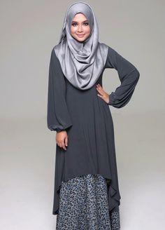 Muslimah Grey Fishtail Dress - I love this! Hijab Fashion 2016, Abaya Fashion, Modest Fashion, Fashion Outfits, Hijab Style, Hijab Chic, Islamic Fashion, Muslim Fashion, Muslimah Clothing