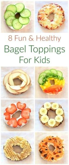 Fun and easy healthy bagel toppings ideas for kids - breakfast and lunch ideas from Eats Amazing UK Healthy Kids Bagel Toppings, Bagel Bagel, Baby Food Recipes, Snack Recipes, Healthy Recipes, Dinner Recipes, Healthy Bagel, Eat Healthy, Snacks Sains