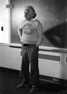 Albert Einstein teaching at Princeton University, New Jersey, United States.