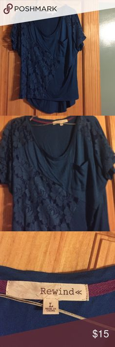 Navy blue top Cotton with lace inserts Rewind Tops Tees - Short Sleeve