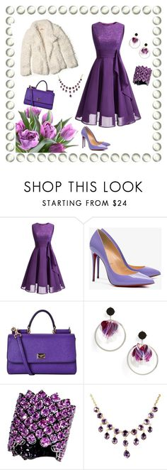 """""""Purple And White"""" by jeanstapley ❤ liked on Polyvore featuring WithChic, Christian Louboutin, Dolce&Gabbana, Natasha, Bayco and Hollister Co."""